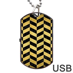Chevron1 Black Marble & Gold Brushed Metal Dog Tag Usb Flash (one Side) by trendistuff