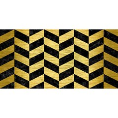 Chevron1 Black Marble & Gold Brushed Metal You Are Invited 3d Greeting Card (8x4) by trendistuff