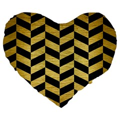 Chevron1 Black Marble & Gold Brushed Metal Large 19  Premium Flano Heart Shape Cushion by trendistuff