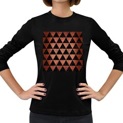 Triangle3 Black Marble & Copper Brushed Metal Women s Long Sleeve Dark T Shirt by trendistuff