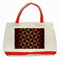 Triangle1 Black Marble & Copper Brushed Metal Classic Tote Bag (red) by trendistuff