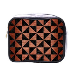 Triangle1 Black Marble & Copper Brushed Metal Mini Toiletries Bag (one Side) by trendistuff