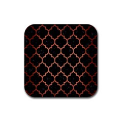 Tile1 Black Marble & Copper Brushed Metal Rubber Square Coaster (4 Pack) by trendistuff