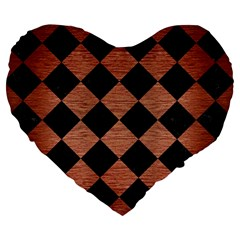 Square2 Black Marble & Copper Brushed Metal Large 19  Premium Flano Heart Shape Cushion by trendistuff
