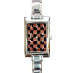 Square1 Black Marble & Copper Brushed Metal Rectangle Italian Charm Watch by trendistuff