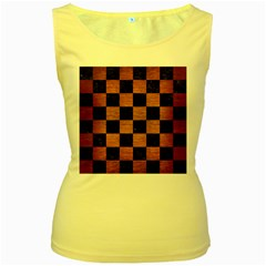 Square1 Black Marble & Copper Brushed Metal Women s Yellow Tank Top by trendistuff