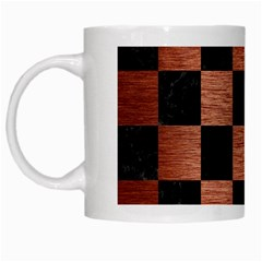 Square1 Black Marble & Copper Brushed Metal White Mug by trendistuff