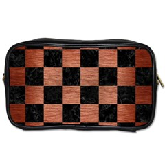 Square1 Black Marble & Copper Brushed Metal Toiletries Bag (two Sides) by trendistuff