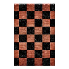 Square1 Black Marble & Copper Brushed Metal Shower Curtain 48  X 72  (small) by trendistuff