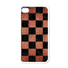 Square1 Black Marble & Copper Brushed Metal Apple Iphone 4 Case (white) by trendistuff