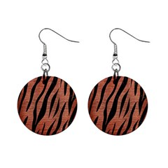 Skin3 Black Marble & Copper Brushed Metal (r) 1  Button Earrings