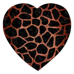 Skin1 Black Marble & Copper Brushed Metal (r) Jigsaw Puzzle (heart) by trendistuff