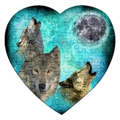 Wolves Shiney Grim Moon 3000jigsaw Puzzle (heart) by ratherkool