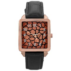Skin1 Black Marble & Copper Brushed Metal Rose Gold Leather Watch  by trendistuff