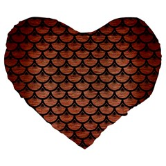 Scales3 Black Marble & Copper Brushed Metal (r) Large 19  Premium Flano Heart Shape Cushion by trendistuff