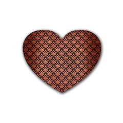 Scales2 Black Marble & Copper Brushed Metal (r) Rubber Heart Coaster (4 Pack) by trendistuff