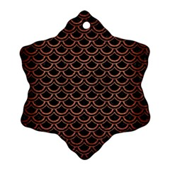 Scales2 Black Marble & Copper Brushed Metal Snowflake Ornament (two Sides) by trendistuff