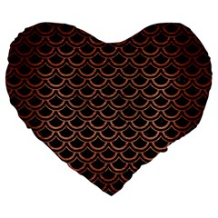Scales2 Black Marble & Copper Brushed Metal Large 19  Premium Flano Heart Shape Cushion by trendistuff