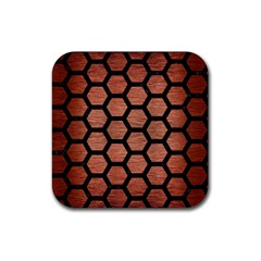 Hexagon2 Black Marble & Copper Brushed Metal (r) Rubber Square Coaster (4 Pack) by trendistuff
