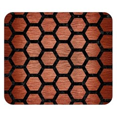 Hexagon2 Black Marble & Copper Brushed Metal (r) Double Sided Flano Blanket (small) by trendistuff