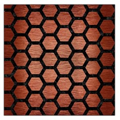 Hexagon2 Black Marble & Copper Brushed Metal (r) Large Satin Scarf (square) by trendistuff