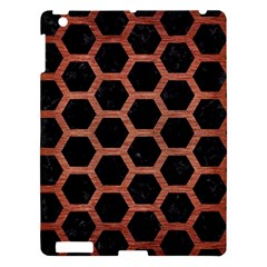 Hexagon2 Black Marble & Copper Brushed Metal Apple Ipad 3/4 Hardshell Case by trendistuff