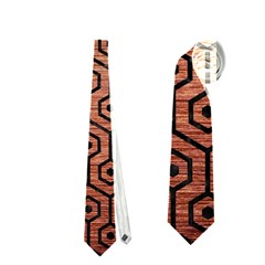 Hexagon1 Black Marble & Copper Brushed Metal (r) Necktie (two Side)