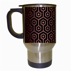 Hexagon1 Black Marble & Copper Brushed Metal Travel Mug (white) by trendistuff