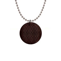 Hexagon1 Black Marble & Copper Brushed Metal 1  Button Necklace by trendistuff
