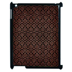 Hexagon1 Black Marble & Copper Brushed Metal Apple Ipad 2 Case (black) by trendistuff