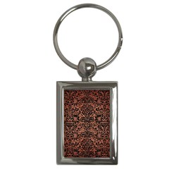 Damask2 Black Marble & Copper Brushed Metal (r) Key Chain (rectangle) by trendistuff
