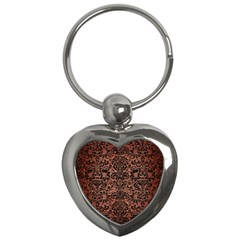 Damask2 Black Marble & Copper Brushed Metal (r) Key Chain (heart) by trendistuff