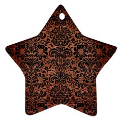 Damask2 Black Marble & Copper Brushed Metal (r) Star Ornament (two Sides) by trendistuff