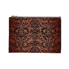 Damask2 Black Marble & Copper Brushed Metal (r) Cosmetic Bag (large) by trendistuff
