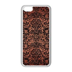 Damask2 Black Marble & Copper Brushed Metal (r) Apple Iphone 5c Seamless Case (white) by trendistuff