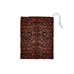 Damask2 Black Marble & Copper Brushed Metal (r) Drawstring Pouch (small) by trendistuff