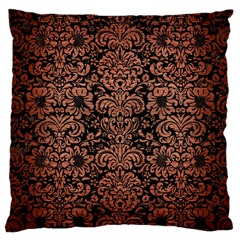 Damask2 Black Marble & Copper Brushed Metal Large Cushion Case (one Side) by trendistuff