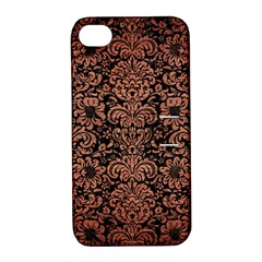 Damask2 Black Marble & Copper Brushed Metal Apple Iphone 4/4s Hardshell Case With Stand by trendistuff