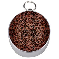 Damask2 Black Marble & Copper Brushed Metal Silver Compass by trendistuff