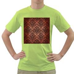 Damask1 Black Marble & Copper Brushed Metal (r) Green T Shirt by trendistuff