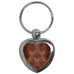 Damask1 Black Marble & Copper Brushed Metal (r) Key Chain (heart) by trendistuff