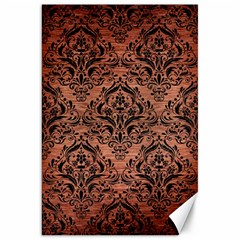Damask1 Black Marble & Copper Brushed Metal (r) Canvas 20  X 30  by trendistuff