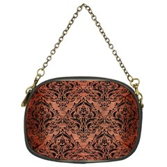 Damask1 Black Marble & Copper Brushed Metal (r) Chain Purse (two Sides) by trendistuff