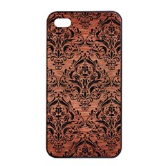 Damask1 Black Marble & Copper Brushed Metal (r) Apple Iphone 4/4s Seamless Case (black) by trendistuff
