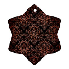 Damask1 Black Marble & Copper Brushed Metal Snowflake Ornament (two Sides) by trendistuff