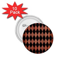 Diamond1 Black Marble & Copper Brushed Metal 1 75  Button (10 Pack)  by trendistuff