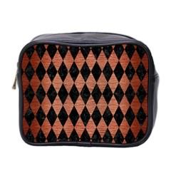Diamond1 Black Marble & Copper Brushed Metal Mini Toiletries Bag (two Sides) by trendistuff