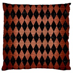 Diamond1 Black Marble & Copper Brushed Metal Standard Flano Cushion Case (one Side) by trendistuff