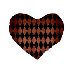 Diamond1 Black Marble & Copper Brushed Metal Standard 16  Premium Flano Heart Shape Cushion  by trendistuff