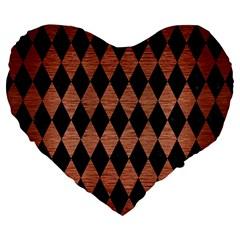 Diamond1 Black Marble & Copper Brushed Metal Large 19  Premium Flano Heart Shape Cushion by trendistuff